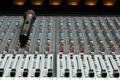 Audio sound mixer with microphone Royalty Free Stock Photo