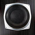Audio speaker close up on darc background Royalty Free Stock Photo