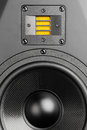 Audio speaker closeup view with tweeter loudspeaker Royalty Free Stock Photo