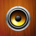 Audio speaker on a wood background Stock Image