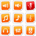 Audio stickers. Royalty Free Stock Images