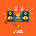 Audio system with microphone in flat style disco party concept showing and sound waves above them on orange background Stock Photography
