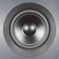 Audio System. Silver speaker close up. Royalty Free Stock Photos