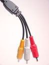 Audio video cables male ends of composite Royalty Free Stock Image