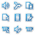 Audio video edit web icons Royalty Free Stock Photography