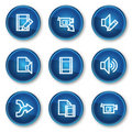 Audio video edit web icons, blue circle buttons Royalty Free Stock Images