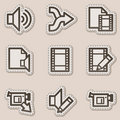 Audio video edit web icons, brown contour sticker Stock Image
