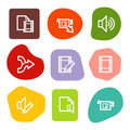 Audio video edit web icons, colour spots series Royalty Free Stock Photo