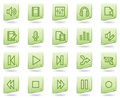 Audio video edit web icons, green document series Royalty Free Stock Photo