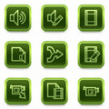 Audio video edit web icons, green square buttons Royalty Free Stock Images