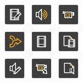 Audio video edit web icons, grey buttons series Royalty Free Stock Photos