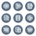 Audio video edit web icons, mineral circle buttons Stock Images