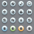 Audio video icons on gray background. Royalty Free Stock Photo