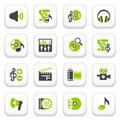 Audio video icons green gray series vector set for websites guides booklets Royalty Free Stock Photo