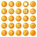 Audio video media icons set no.1 - orange Stock Image