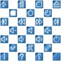 Audio video media icons set no.3 - blue Royalty Free Stock Image