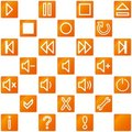 Audio video media icons set no.3 - orange Stock Photos