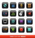 Audio and video tablet buttons collection on white Stock Photos