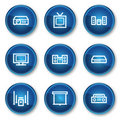 Audio video web icons, blue circle buttons Stock Images