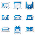 Audio video web icons, blue contour sticker series Royalty Free Stock Photography