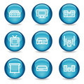 Audio video web icons, blue glossy sphere series Royalty Free Stock Photography