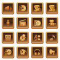 Audio video web icons. Brown series. Stock Photo