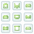 Audio video web icons, white square buttons series Royalty Free Stock Image