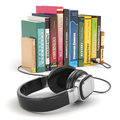 Audiobook concept headphones and books on white background Royalty Free Stock Photo