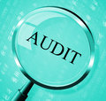 Audit magnifier shows searching auditing and magnification indicating inspection analysis Stock Images