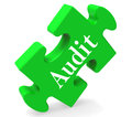 Audit puzzle shows auditor validation scrutiny or inspection showing Stock Photo