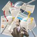 The auditor illustration with analyzing financial documents and three magnifying glasses as metaphor of deep examination Stock Photo