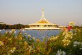 Auditorium on lake side and flower in park botanical garden bangkok thailand Royalty Free Stock Images