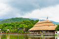 Auditorium on lake side in night safari chiangmai thailand zoo Stock Image