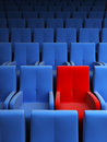 Auditorium with one red seat Stock Image