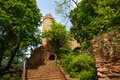 Auerbach castle entrance in spring trees foliage southern hesse germany europe Royalty Free Stock Photo