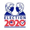 American Presidential Election 2020 Donald Trump Versus Joe Biden Wearing Face Mask Retro Style Royalty Free Stock Photo