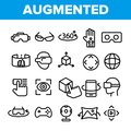 stock image of  Augmented, Virtual Reality Linear Vector Icons Set