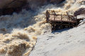 Augrabies falls the in the orange river showing viewing platform destroyed by flood Royalty Free Stock Photo