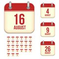 August vector calendar icons this is file of eps format Royalty Free Stock Images