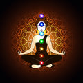 Aura and chakra meditation vector illustration concept Royalty Free Stock Photography