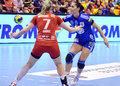 Aurelia bradeanu of oltchim ramnicu valcea pictured in action during a ehf champions league game between and slovenian Royalty Free Stock Images