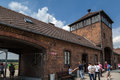 Auschwitz birkenau concentration camp entrance south of poland Stock Photography