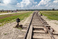 Auschwitz birkenau concentration camp railroad tracks south of poland Royalty Free Stock Photos