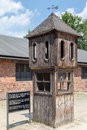 Auschwitz concentration camp a protection wood tower for the guards in south of poland Royalty Free Stock Images