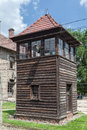 Auschwitz concentration camp a protection wood tower for the guards in south of poland Stock Image