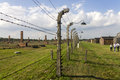 Auschwitz II -Birkenau Extermination camp outdoors behind a barbed wire fence Royalty Free Stock Photo