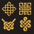 Auspicious Endless knots set.Buddhist symbol.Gold Royalty Free Stock Photo