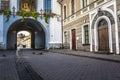 Ausros gate gate of dawn with basilica of madonna ostrobramska in vilnius lithuania Stock Photos