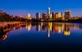 Austin central texas skyline cityscape Town Lake Mirror Reflection Royalty Free Stock Photo