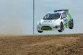 Austin Cindric rally driver jumps Royalty Free Stock Photo